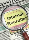 Internal Recruiter. Newspaper with the Vacancy. Column in the Newspaper with the Vacancy of Internal Recruiter. Hiring Concept. Blurred Image with Selective focus. 3D Illustration.